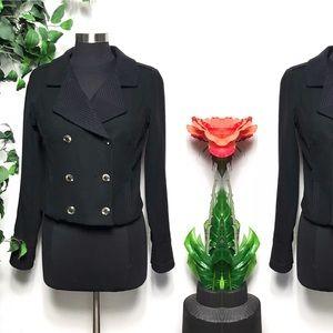 Free People Black Wool Cropped Pea Coat Jacket - 8